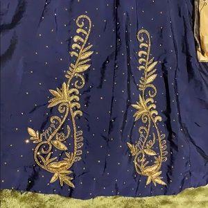 Dresses - Dark Blue Long Dress Golden Eetailing